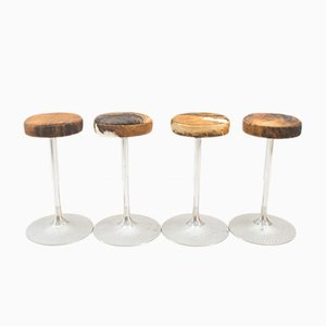 Cowhide Bar Stools, 1960s, Set of 4