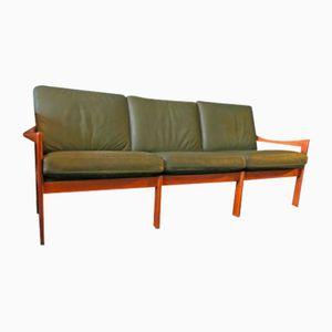 Canapé 3 Places en Teck et Cuir par Illum Wikelslø pour Niels Eilersen, 1960s