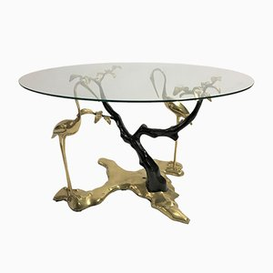 Table Basse Oiseaux de Grue en Bronze par Willy Daro, 1970s