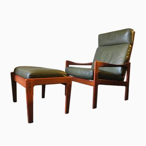 Lounge Chair & Ottoman in Solid Teak & Leather by Illum Wikkelsø for Niels Eilersen, 1960s