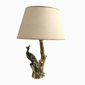Lámpara de mesa en forma de pavo real de latón de Willy Daro, años 70