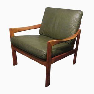 Lounge Chair in Solid Teak & Leather by Illum Wikkelslø for Niels Eilersen, 1960s
