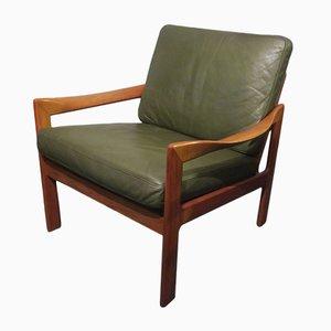 Sessel aus massivem Teak & Leder von Illum Wikkelslø für Niels Eilersen, 1960er