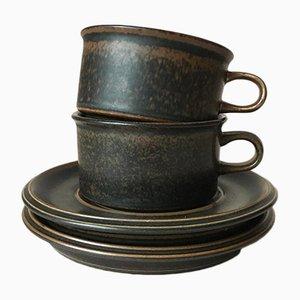 Ruska Stoneware Tea Set by Ulla Procope for Arabia, 1972