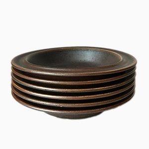 Ruska Stoneware Soup Plates by Ulla Procope for Arabia, 1974, Set of 6