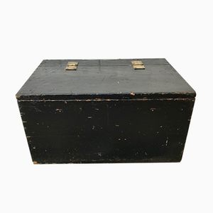 Antique Black Wooden Trunk