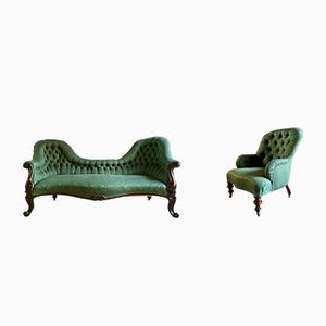 Victorian Rosewood Sofa and Armchair, 1870s
