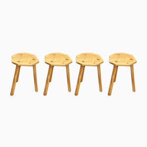 Vintage Wooden Tripod Stools, Set of 4
