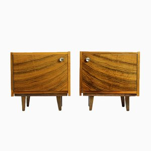 Cubical Walnut Bedside Tables, 1970s, Set of 2
