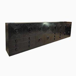 Muebles bar modulares brutalistas de roble, años 70. Juego de 4