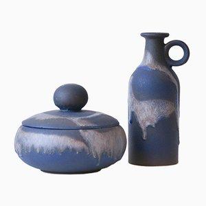 Caja para caramelos y jarrón con asas alemanes orientales vintage de cerámica Fat Lava de Ruscha Keramik