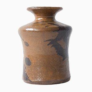 Braune Mid-Century Vase aus Steingut von Kubicek