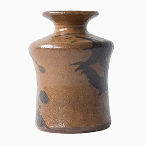 Mid-Century Brown Stoneware Vase from Kubicek