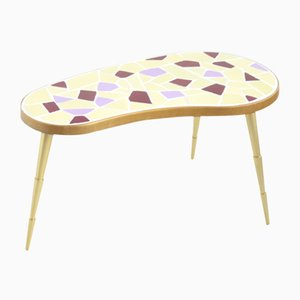 German Brass and Mosaic Kidney Shaped Table, 1950s
