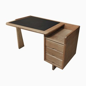 Etudiant Desk in Oak & Leather by Guillerme et Chambron for Votre Maison, 1960s