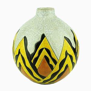 Abstrakte Art Deco Vase von Keramis Boch, 1928