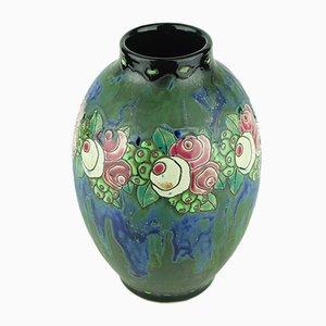 Blaugrüne Art Deco Vase von Charles Catteau für Keramis Boch, 1922