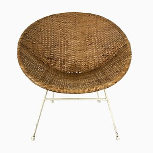 Vintage Rattan Lounge Chair, 1950s