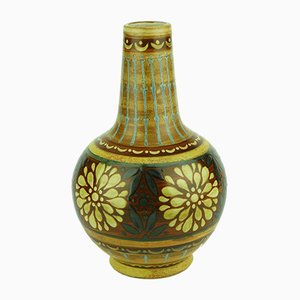Art Deco Orange Stoneware Vase from Keramis Boch, 1920