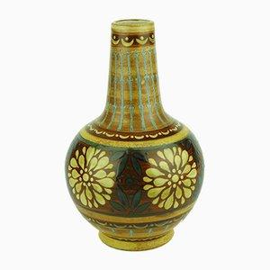 Orangene Art Deco Vase aus Steingut von Keramis Boch, 1920er
