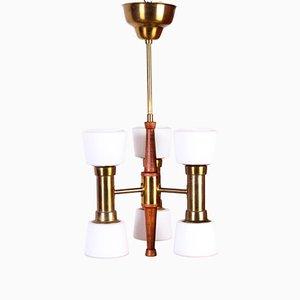 Vintage Brass & Teak Ceiling Lamp by Hans Bergström for ASEA