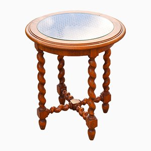 Vintage French Oak, Barley & Cane Side Table