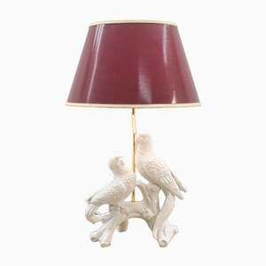 White Ceramic Table Lamp with 2 Parrots, 1960s