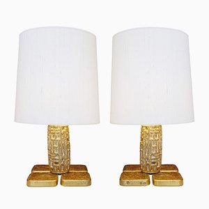 Italian Brutalist Table Lamps by Luciano Frigerio, 1970s, Set of 2