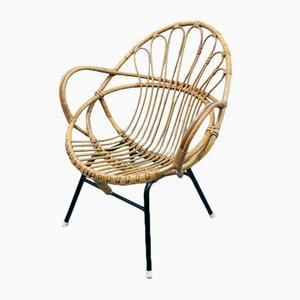 Rattan & Black Metal Lounge Chair, 1960s