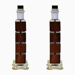 Vintage Swedish Wood & Glass Table Lamps, 1960s, Set of 2