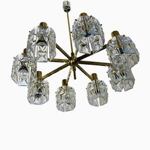 Lámpara de araña grande de vidrio y latón de Kinkeldey, años 60