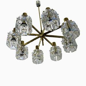 Large Glass and Brass Chandelier from Kinkeldey, 1960s