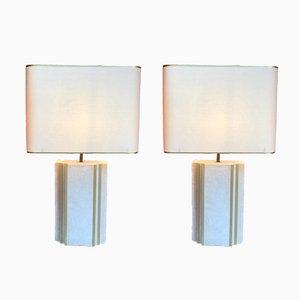 Lampade da tavolo in pietra e ottone, anni '70, set di 2