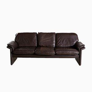Sofá de tres plazas vintage en marrón oscuro, años 60