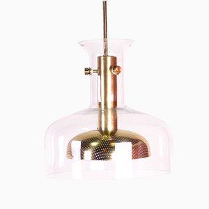 Lampada da soffitto vintage in cristallo, ottone e vetro di Anders Pehrson per Ateljé Lyktan