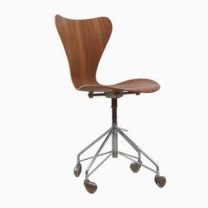 Drehbarer Vintage Modell 3117 Schreibtischstuhl von Arne Jacobsen für Fritz Hansen