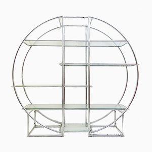 Estantería circular de cromo y vidrio, años 60
