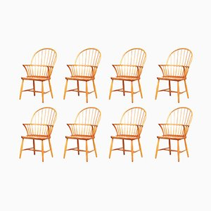 Danish Oak Windsor Chairs by Frits Henningsen for Carl Hansen & Søn, 1940s, Set of 8