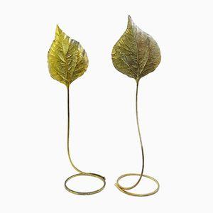 Lámparas de pie con hojas de latón de Tommaso Barbi, años 70. Juego de 2