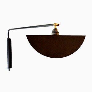 Lampada da parete Kepler nera con paralume regolabile di Juanma Lizana