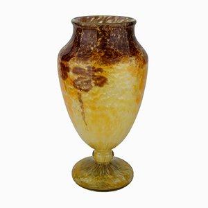 Gelbe französische Art Deco Vase von Charles Schneider, 1920er