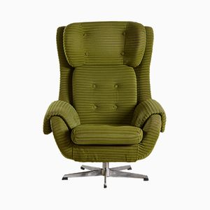 Vintage Green Swivel Armchair, 1970s