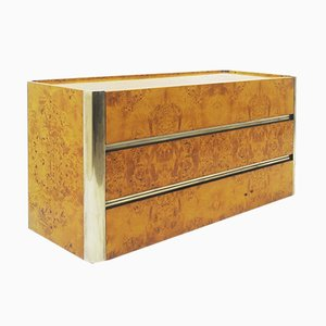 Burl & Brass Chest of Drawers, 1970s
