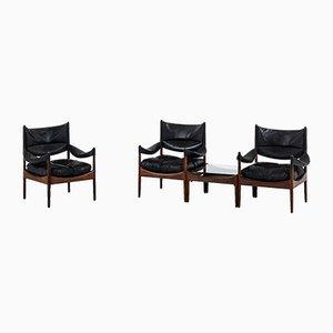 Vintage Model Modus Easy Chairs & Side Table by Kristian Solmer Vedel for Søren Willadsen Møbelfabrik, 1963