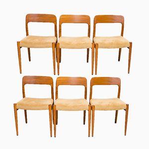 Modell 75 Stühle von Niels O. Møller for J.L Møllers, 1960er, 6er Set
