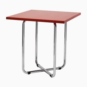 Axa Square Side Table in Red by Rudolf Netik for SLEZAK Factories