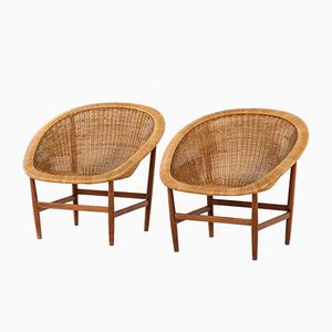 Ditzel Easy Chairs Nanna & Jørgen for Ludvig Pontoppidan, 1950s, Set of 2