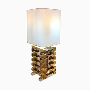Vintage Table Lamp in Steel & Brass, 1970s