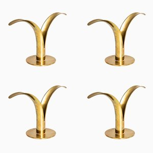Lily Candlesticks by Ivar Ålenius Björk for Ystad-Metall, 1950s, Set of 4