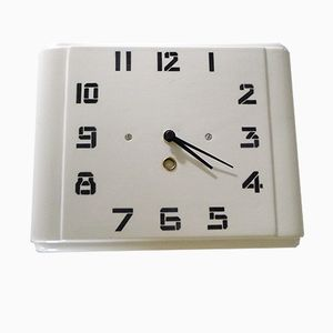 French Ceramic Wall Clock from HBCM, 1940s